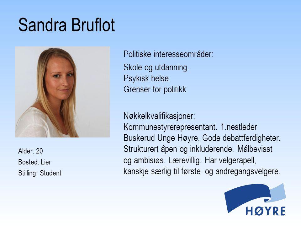 Politiske interesseområder: Jeg har en grunnleggende tillit til og tro på Høyres ideologiske fundament.