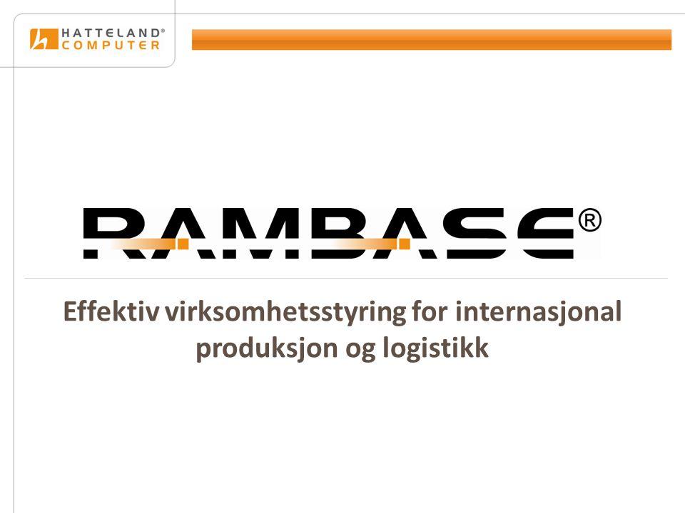 Full sporbarhet Sporbarhet i hele verdikjeden ERP-systemet RamBase gir sporbarhet fra mottatt forespørsel, til vare er sendt til kunde.