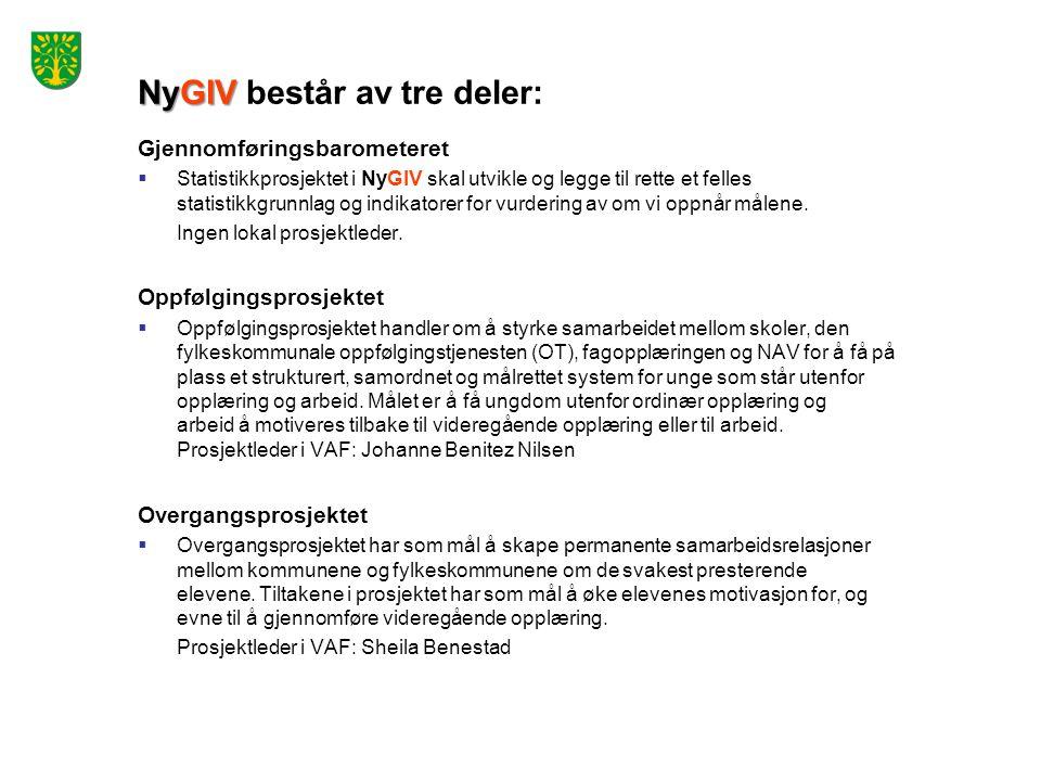 NyGIV NyGIV består av tre deler: Gjennomføringsbarometeret  Statistikkprosjektet i NyGIV skal utvikle og legge til rette et felles statistikkgrunnlag
