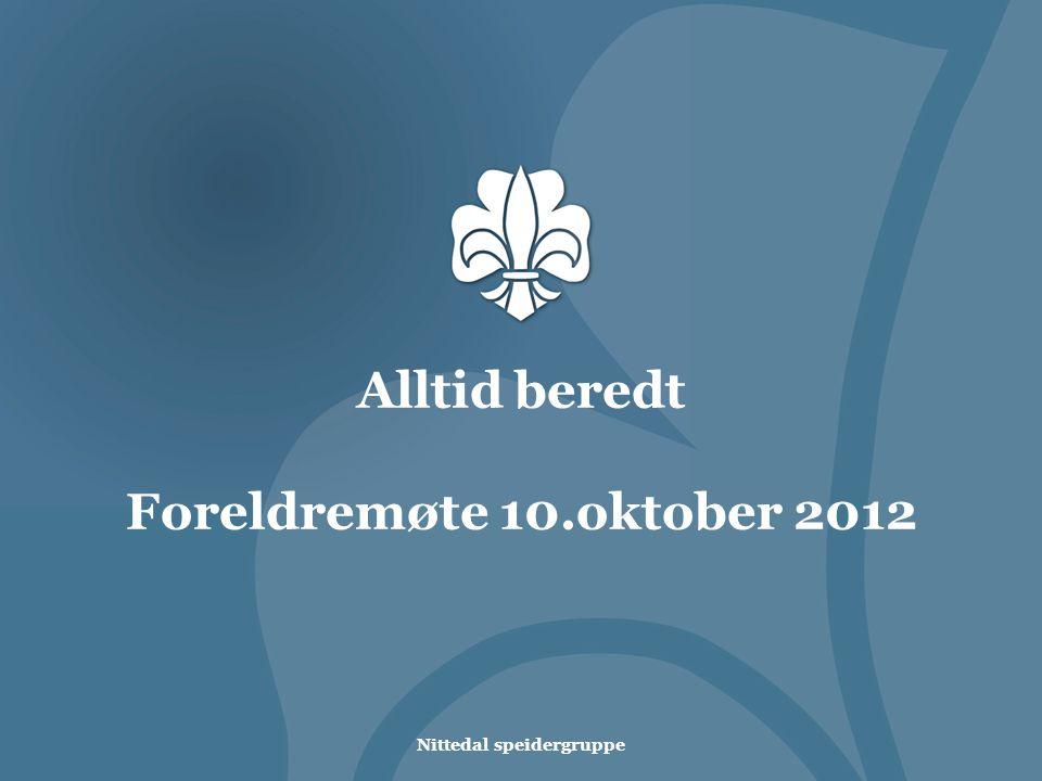 Nittedal speidergruppe Alltid beredt Foreldremøte 10.oktober 2012