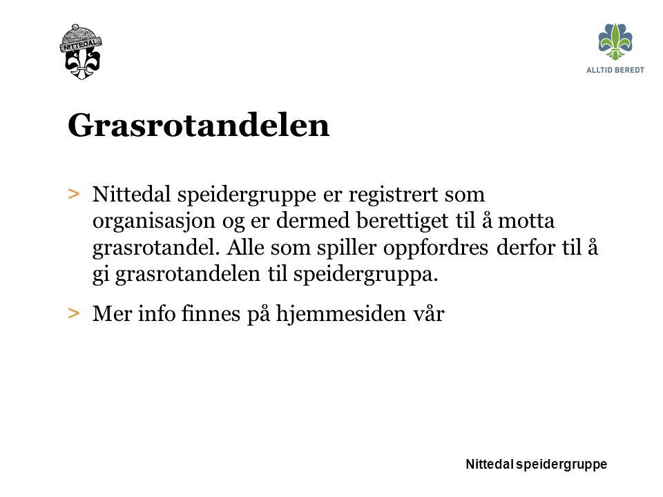 Grasrotandelen > Nittedal speidergruppe er registrert som organisasjon og er dermed berettiget til å motta grasrotandel.