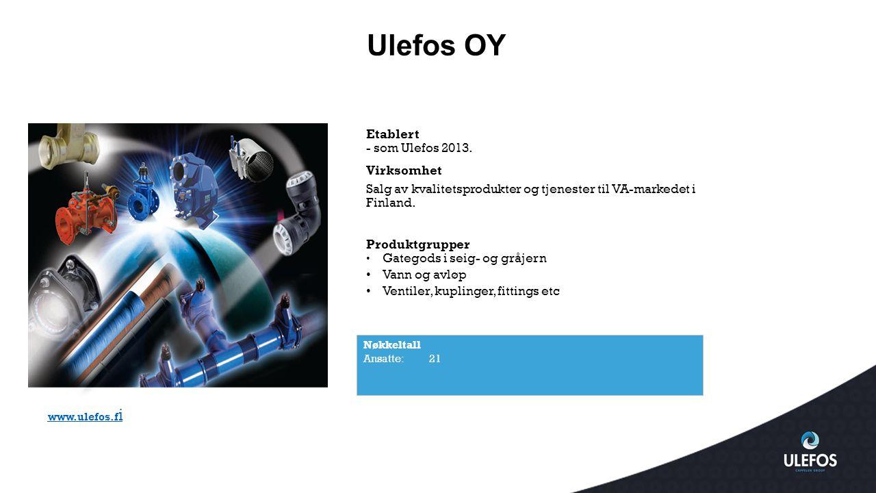 Ulefos OY Nøkkeltall Ansatte: 21 www.ulefos.f i Etablert - som Ulefos 2013. Virksomhet Salg av kvalitetsprodukter og tjenester til VA-markedet i Finla