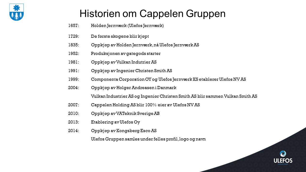 1657:Holden Jernværk (Ulefos Jernværk) 1729:De første skogene blir kjøpt 1835:Oppkjøp av Holden Jernværk, nå Ulefos Jernværk AS 1952:Produksjonen av g