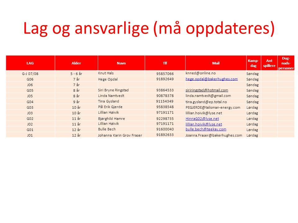 Lag og ansvarlige (må oppdateres) LAGAlderNavnTlfMail Kamp- dag Ant spillere Dug- nads- personer G-J 07/085 - 6 år Knut Hals 95857066 knned@online.no