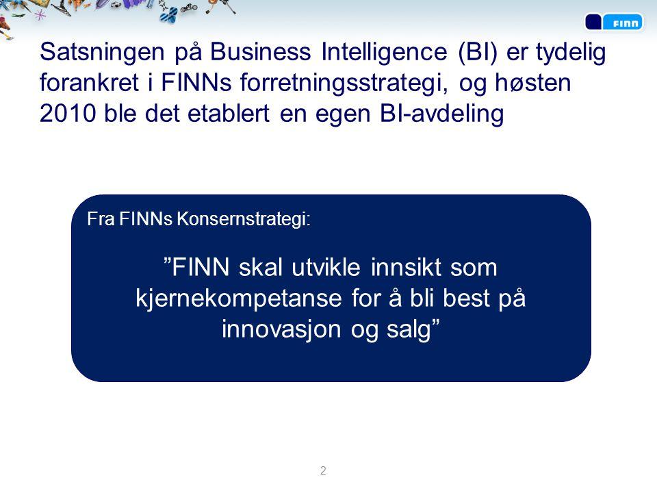 Satsningen på Business Intelligence (BI) er tydelig forankret i FINNs forretningsstrategi, og høsten 2010 ble det etablert en egen BI-avdeling 2 Fra F