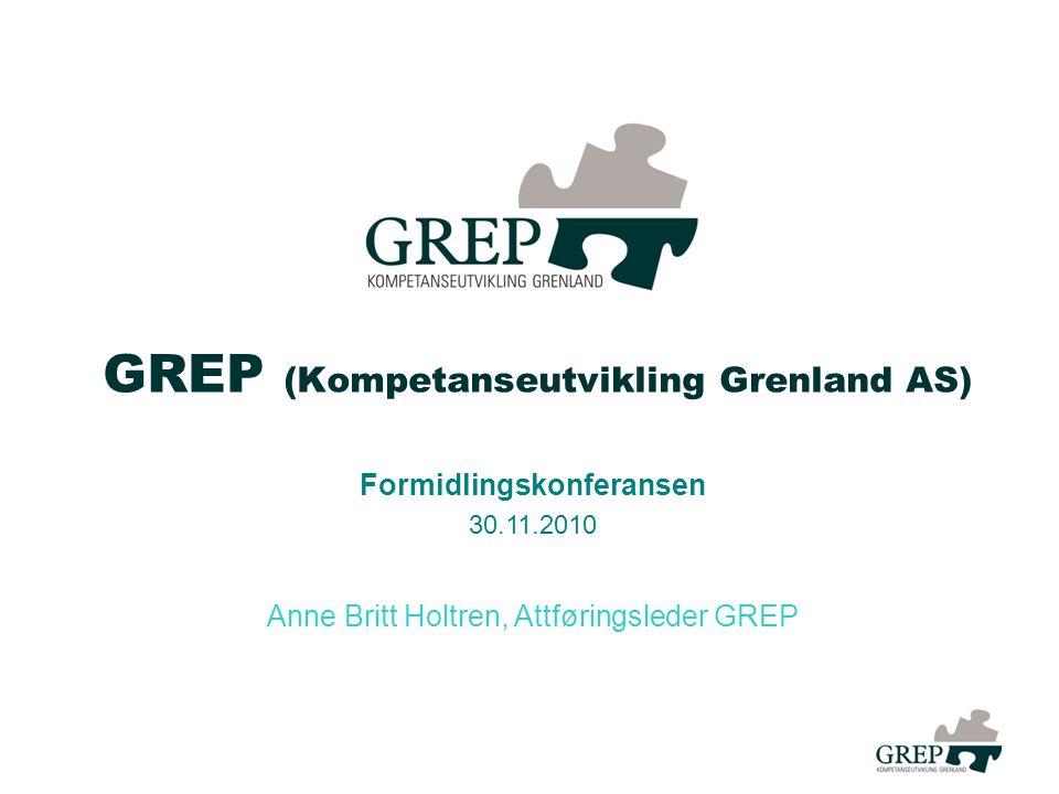 GREP (Kompetanseutvikling Grenland AS) Formidlingskonferansen 30.11.2010 Anne Britt Holtren, Attføringsleder GREP