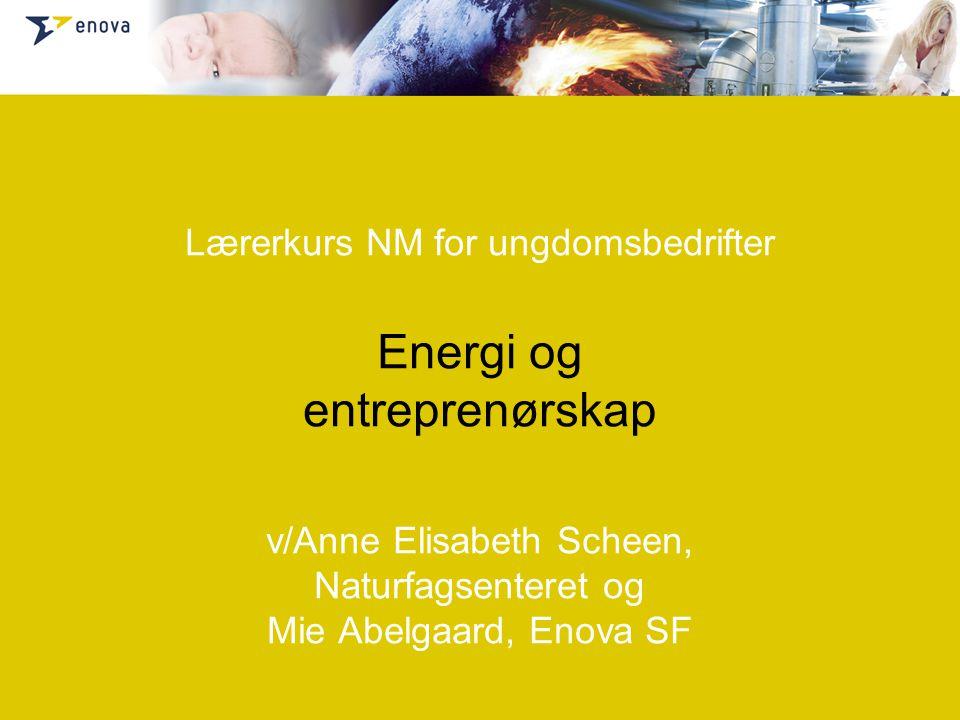 Om Enova Læreplan ift entreprenørskap og energi Et samfunn i endring Bedriftsvirksomhet og energieffektivisering Energi i ungdomsbedriften Energidesign Energidesignprisen Eksempler/diskusjon
