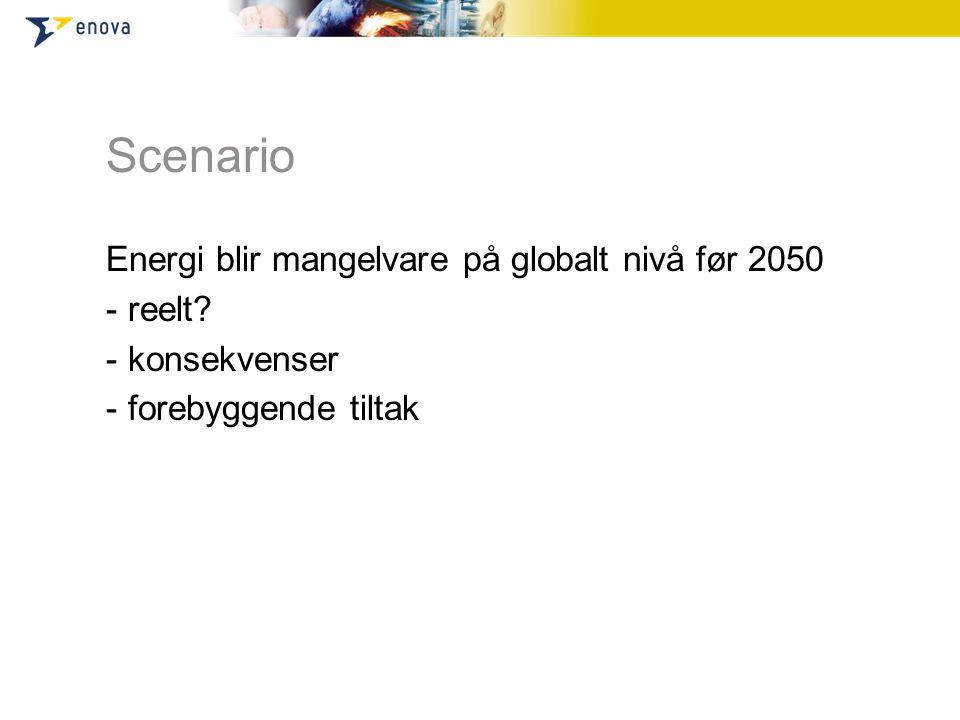 Scenario Energi blir mangelvare på globalt nivå før 2050 - reelt? - konsekvenser - forebyggende tiltak