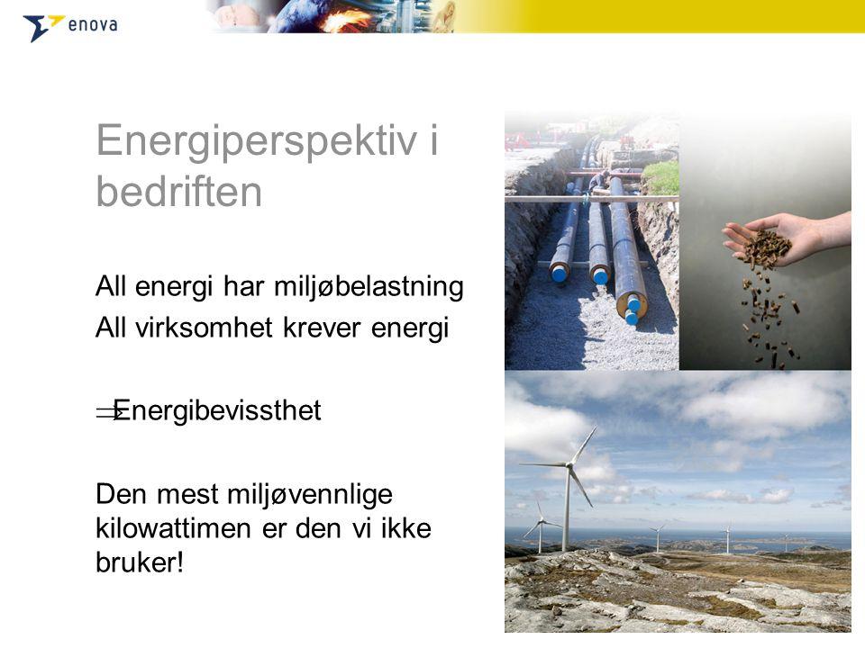 Energiperspektiv i bedriften All energi har miljøbelastning All virksomhet krever energi  Energibevissthet Den mest miljøvennlige kilowattimen er den vi ikke bruker!