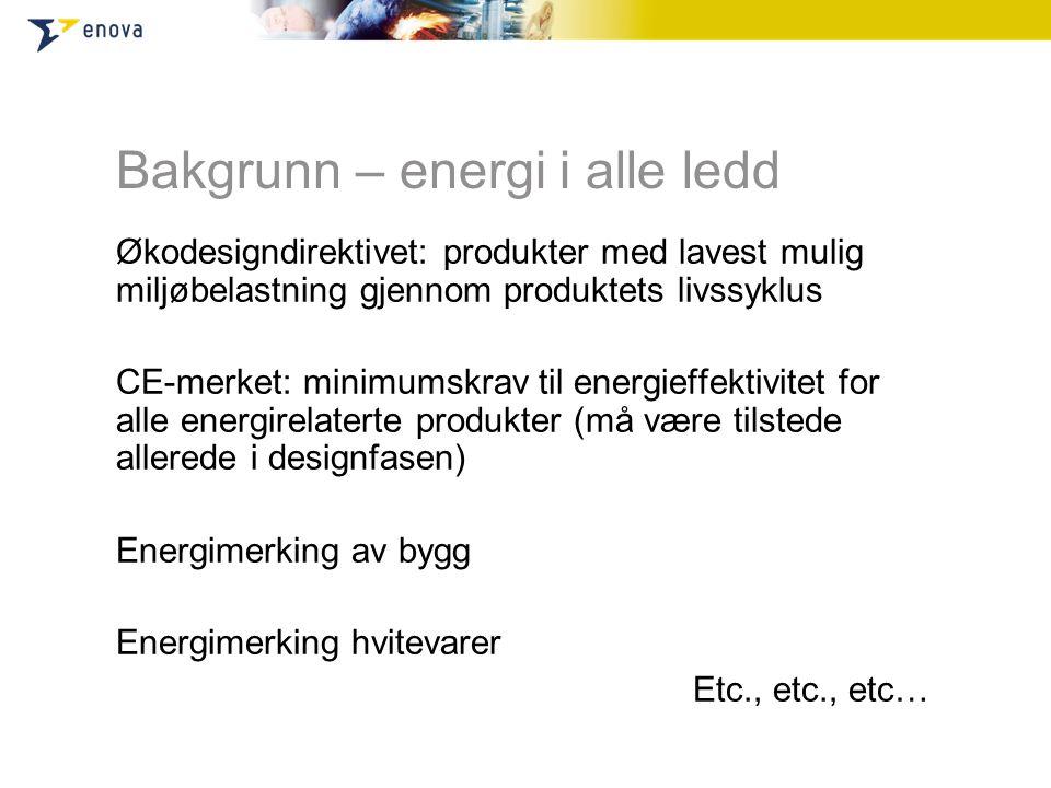 Bakgrunn – energi i alle ledd Økodesigndirektivet: produkter med lavest mulig miljøbelastning gjennom produktets livssyklus CE-merket: minimumskrav til energieffektivitet for alle energirelaterte produkter (må være tilstede allerede i designfasen) Energimerking av bygg Energimerking hvitevarer Etc., etc., etc…