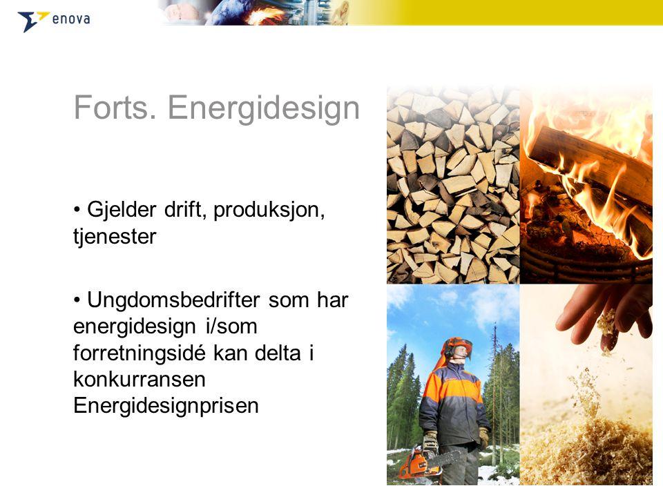 Forts. Energidesign • Gjelder drift, produksjon, tjenester • Ungdomsbedrifter som har energidesign i/som forretningsidé kan delta i konkurransen Energ