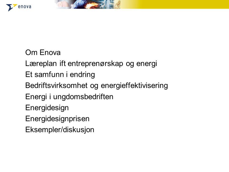 Om Enova Læreplan ift entreprenørskap og energi Et samfunn i endring Bedriftsvirksomhet og energieffektivisering Energi i ungdomsbedriften Energidesig