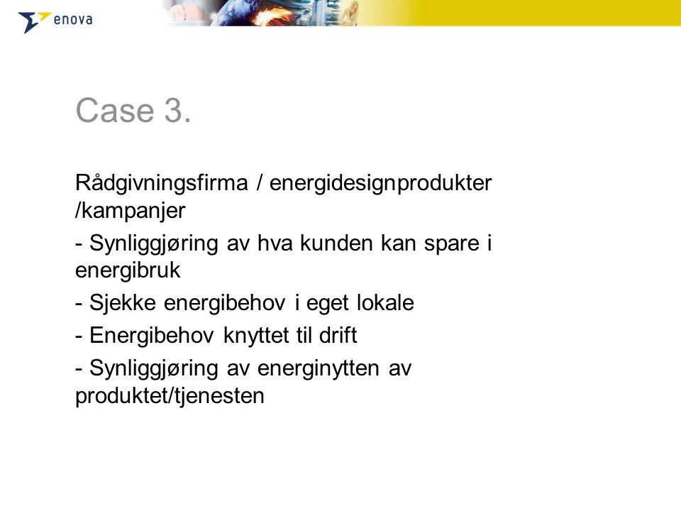 Case 3. Rådgivningsfirma / energidesignprodukter /kampanjer - Synliggjøring av hva kunden kan spare i energibruk - Sjekke energibehov i eget lokale -
