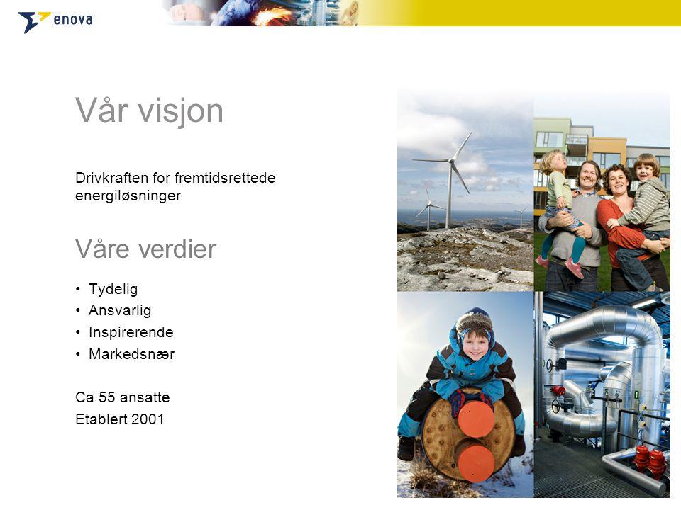 Vår visjon Drivkraften for fremtidsrettede energiløsninger Våre verdier •Tydelig •Ansvarlig •Inspirerende •Markedsnær Ca 55 ansatte Etablert 2001