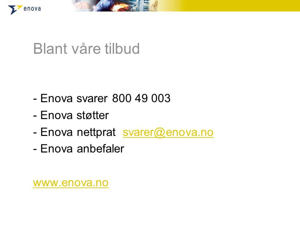 Blant våre tilbud - Enova svarer 800 49 003 - Enova støtter - Enova nettprat svarer@enova.nosvarer@enova.no - Enova anbefaler www.enova.no