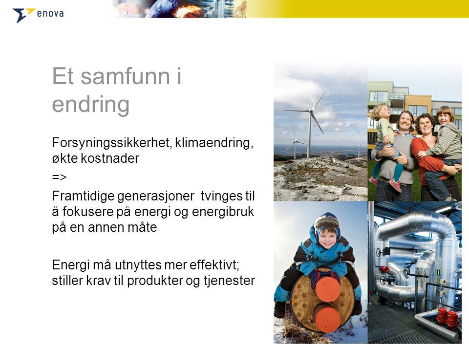 Et samfunn i endring Forsyningssikkerhet, klimaendring, økte kostnader => Framtidige generasjoner tvinges til å fokusere på energi og energibruk på en