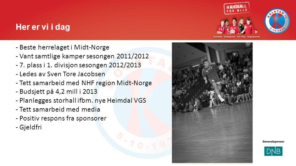 Her er vi i dag - Beste herrelaget i Midt-Norge - Vant samtlige kamper sesongen 2011/2012 - 7. plass i 1. divisjon sesongen 2012/2013 - Ledes av Sven