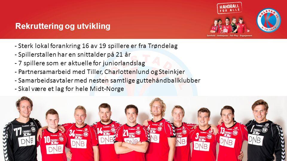 Rekruttering og utvikling - Sterk lokal forankring 16 av 19 spillere er fra Trøndelag - Spillerstallen har en snittalder på 21 år - 7 spillere som er