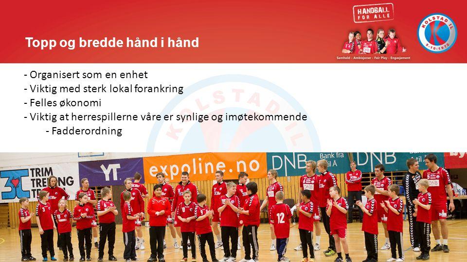 Topp og bredde hånd i hånd - Organisert som en enhet - Viktig med sterk lokal forankring - Felles økonomi - Viktig at herrespillerne våre er synlige o