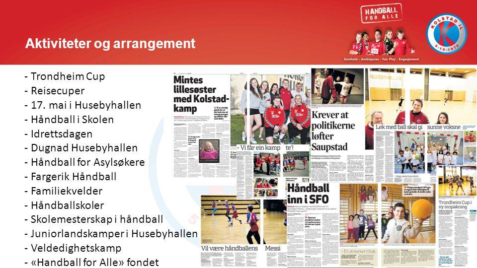 Aktiviteter og arrangement - Trondheim Cup - Reisecuper - 17. mai i Husebyhallen - Håndball i Skolen - Idrettsdagen - Dugnad Husebyhallen - Håndball f