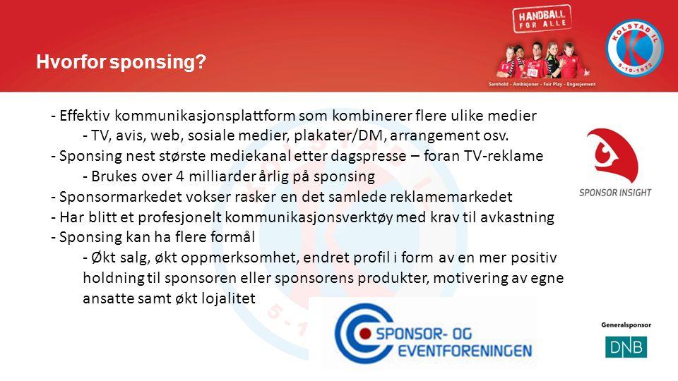 Hvorfor sponsing? - Effektiv kommunikasjonsplattform som kombinerer flere ulike medier - TV, avis, web, sosiale medier, plakater/DM, arrangement osv.