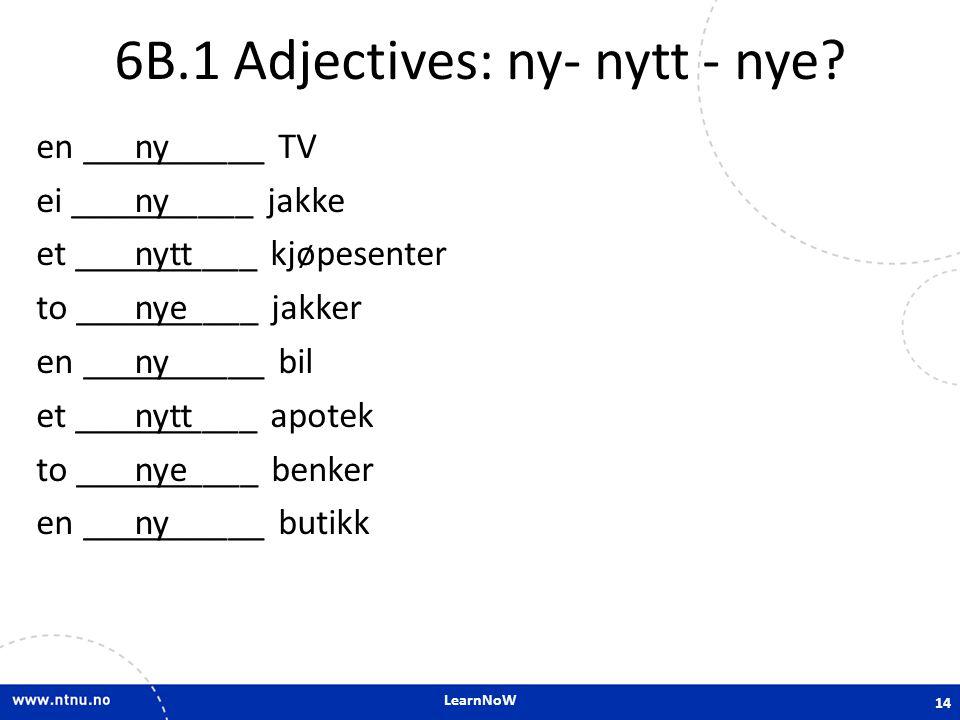 LearnNoW 6B.1 Adjectives: ny- nytt - nye? en __________ TV ei __________ jakke et __________ kjøpesenter to __________ jakker en __________ bil et ___