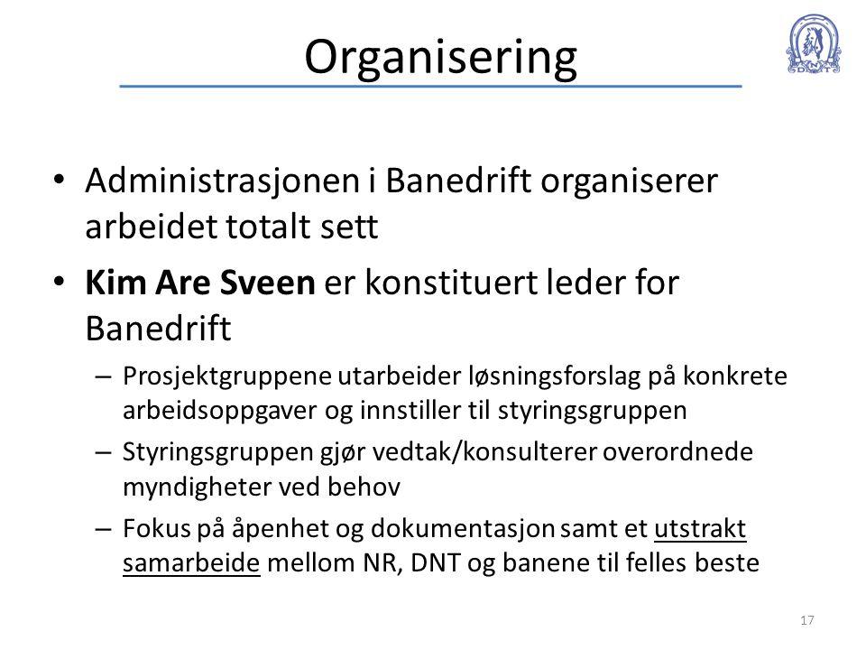 Organisering • Administrasjonen i Banedrift organiserer arbeidet totalt sett • Kim Are Sveen er konstituert leder for Banedrift – Prosjektgruppene uta