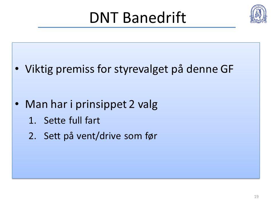 DNT Banedrift • Viktig premiss for styrevalget på denne GF • Man har i prinsippet 2 valg 1.Sette full fart 2.Sett på vent/drive som før • Viktig premi