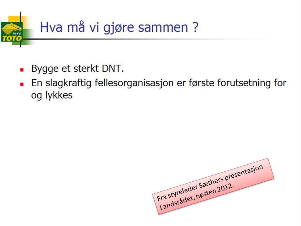 4 Fra styreleder Sæthers presentasjon Landsrådet, høsten 2012. Fra styreleder Sæthers presentasjon Landsrådet, høsten 2012.