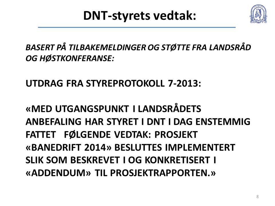 DNT-styrets vedtak: 8 BASERT PÅ TILBAKEMELDINGER OG STØTTE FRA LANDSRÅD OG HØSTKONFERANSE: UTDRAG FRA STYREPROTOKOLL 7-2013: «MED UTGANGSPUNKT I LANDS