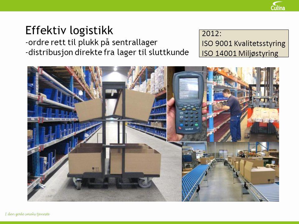 Effektiv logistikk -ordre rett til plukk på sentrallager -distribusjon direkte fra lager til sluttkunde 2012: ISO 9001 Kvalitetsstyring ISO 14001 Milj