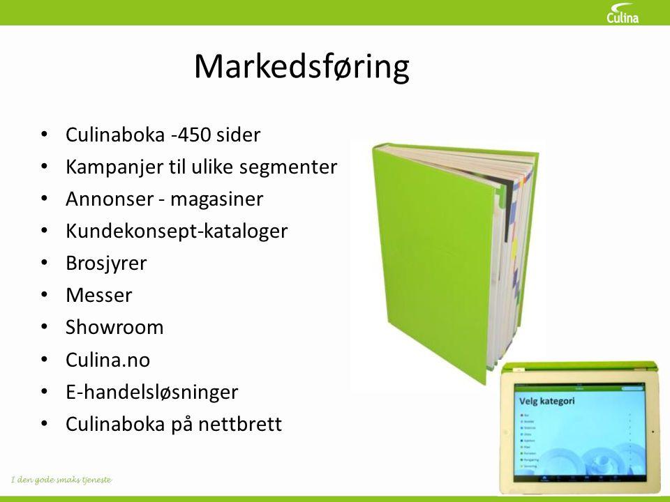 Markedsføring • Culinaboka -450 sider • Kampanjer til ulike segmenter • Annonser - magasiner • Kundekonsept-kataloger • Brosjyrer • Messer • Showroom