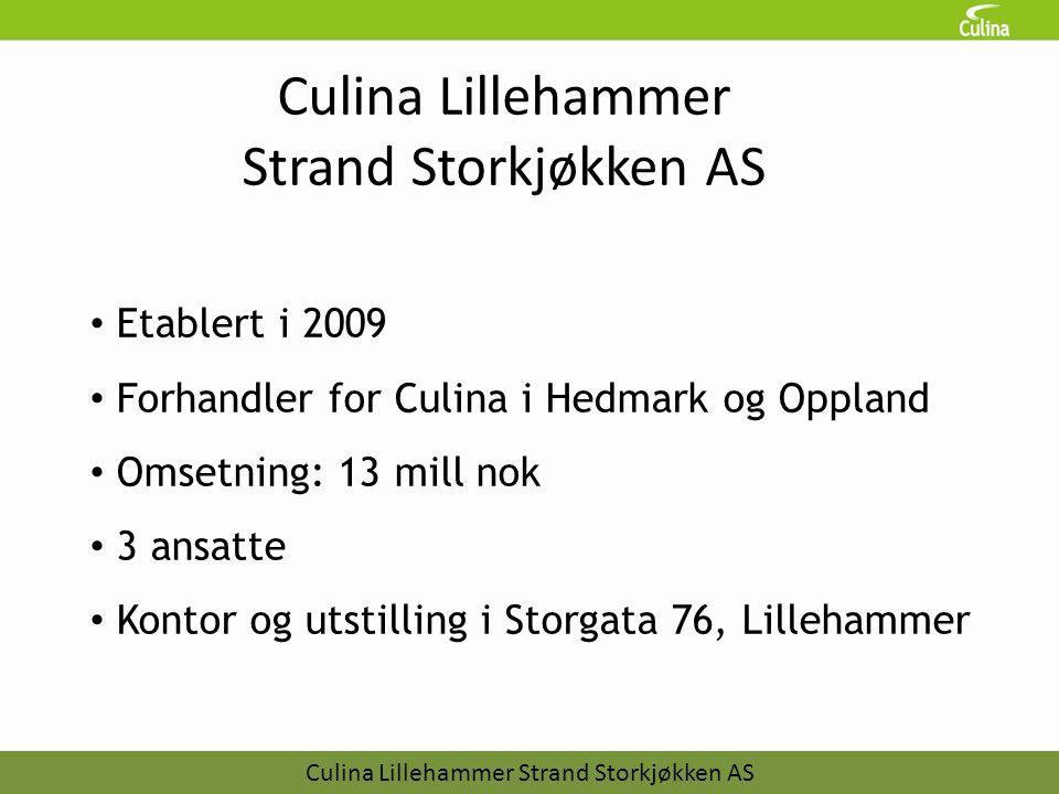 Culina Lillehammer Strand Storkjøkken AS • Etablert i 2009 • Forhandler for Culina i Hedmark og Oppland • Omsetning: 13 mill nok • 3 ansatte • Kontor