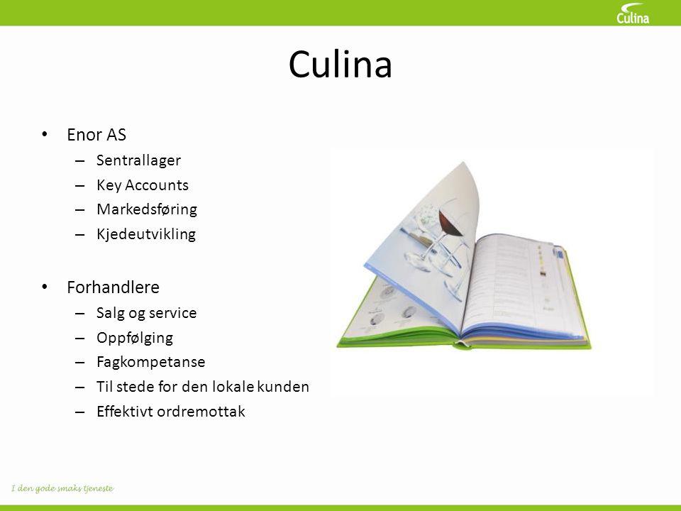Culina • Enor AS – Sentrallager – Key Accounts – Markedsføring – Kjedeutvikling • Forhandlere – Salg og service – Oppfølging – Fagkompetanse – Til stede for den lokale kunden – Effektivt ordremottak
