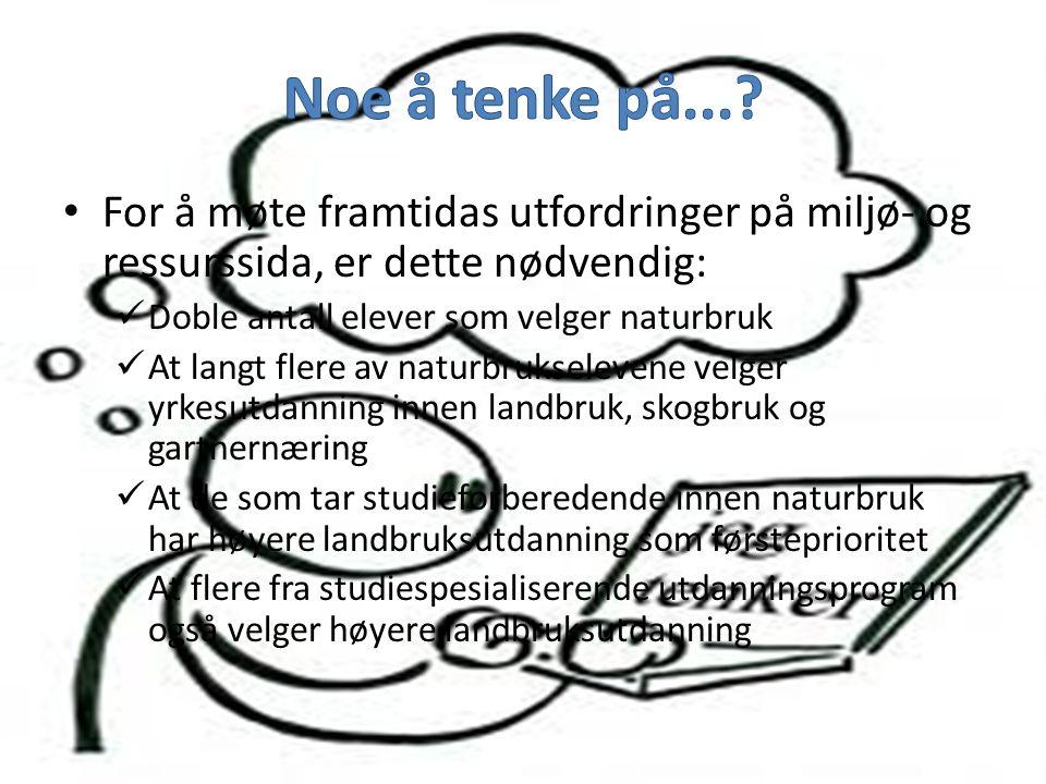 • I Norge skifter ca 800 landbrukseiendommer eier hvert år • Det utdannes årlig under 400 agronomer • Dette gir et agronomunderskudd på 400 hvert enes