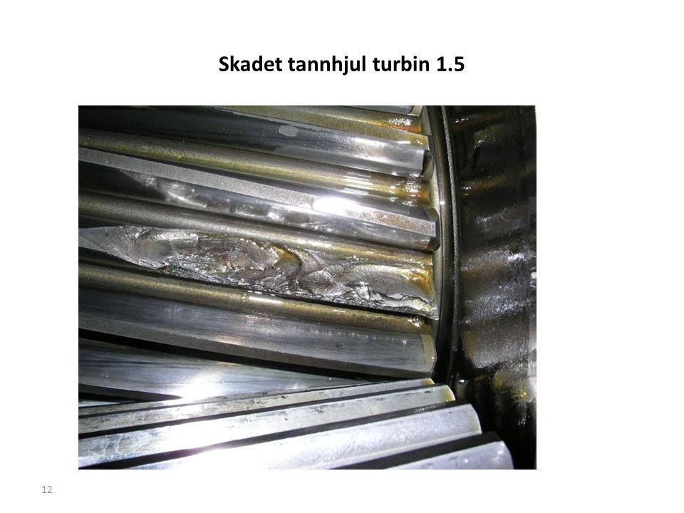 Skadet tannhjul turbin 1.5 12