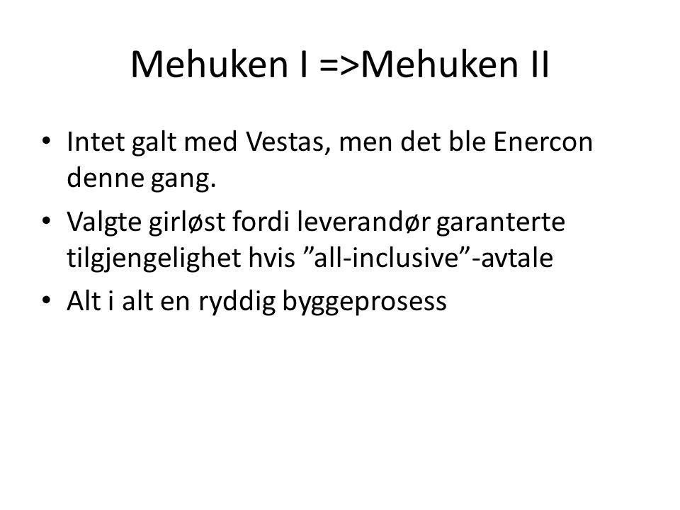 """Mehuken I =>Mehuken II • Intet galt med Vestas, men det ble Enercon denne gang. • Valgte girløst fordi leverandør garanterte tilgjengelighet hvis """"all"""