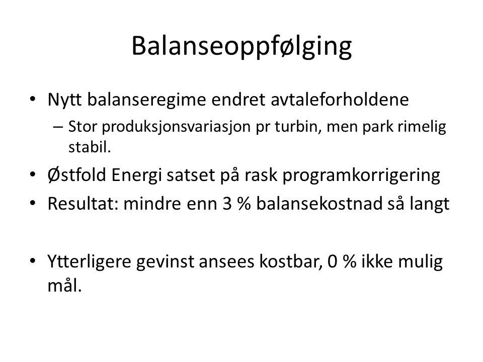 Balanseoppfølging • Nytt balanseregime endret avtaleforholdene – Stor produksjonsvariasjon pr turbin, men park rimelig stabil. • Østfold Energi satset