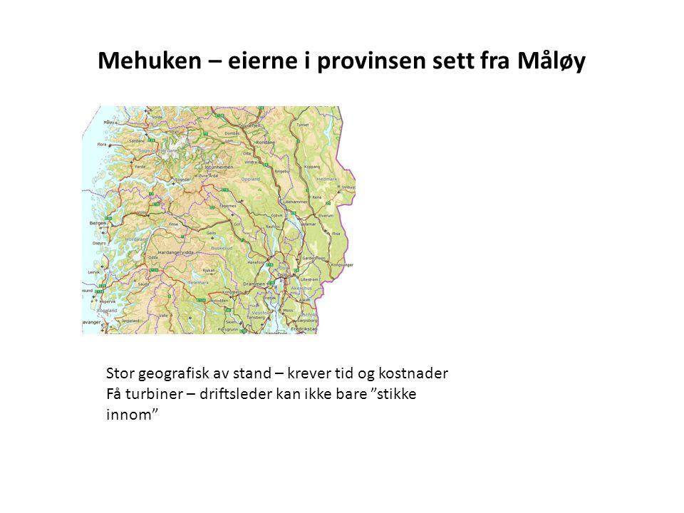 """Mehuken – eierne i provinsen sett fra Måløy Stor geografisk av stand – krever tid og kostnader Få turbiner – driftsleder kan ikke bare """"stikke innom"""""""