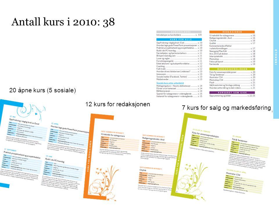 Antall kurs i 2010: 38 7 kurs for salg og markedsføring 20 åpne kurs (5 sosiale) 12 kurs for redaksjonen