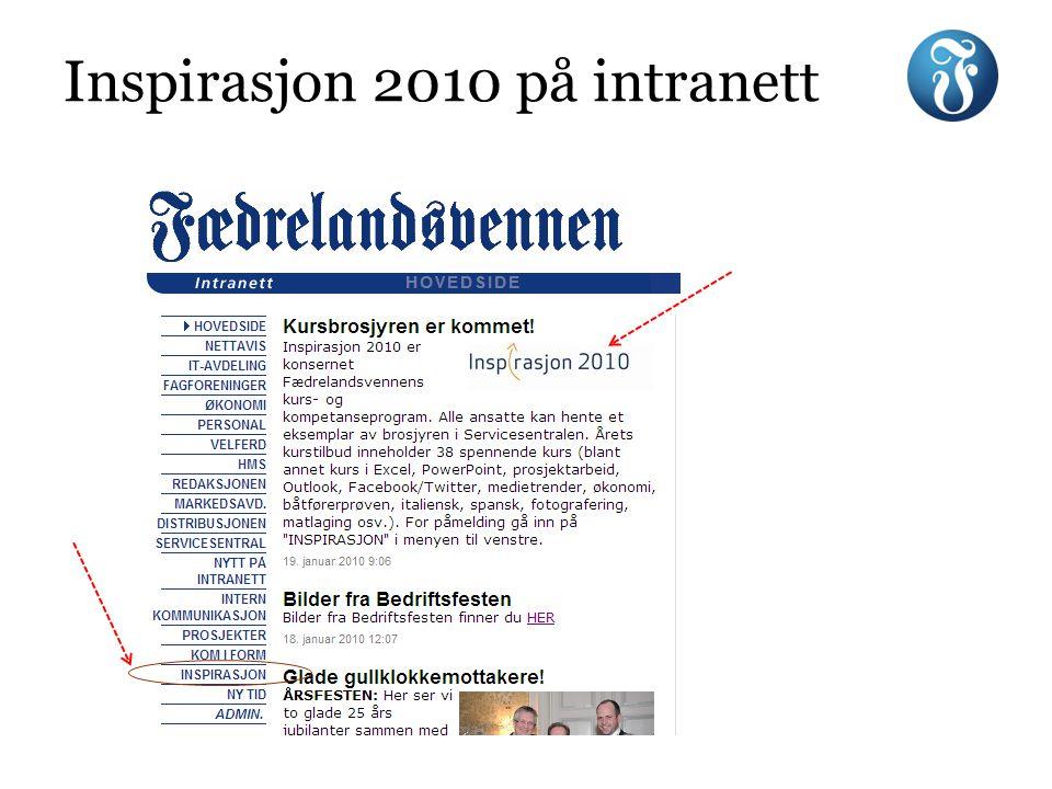 Inspirasjon 2010 på intranett
