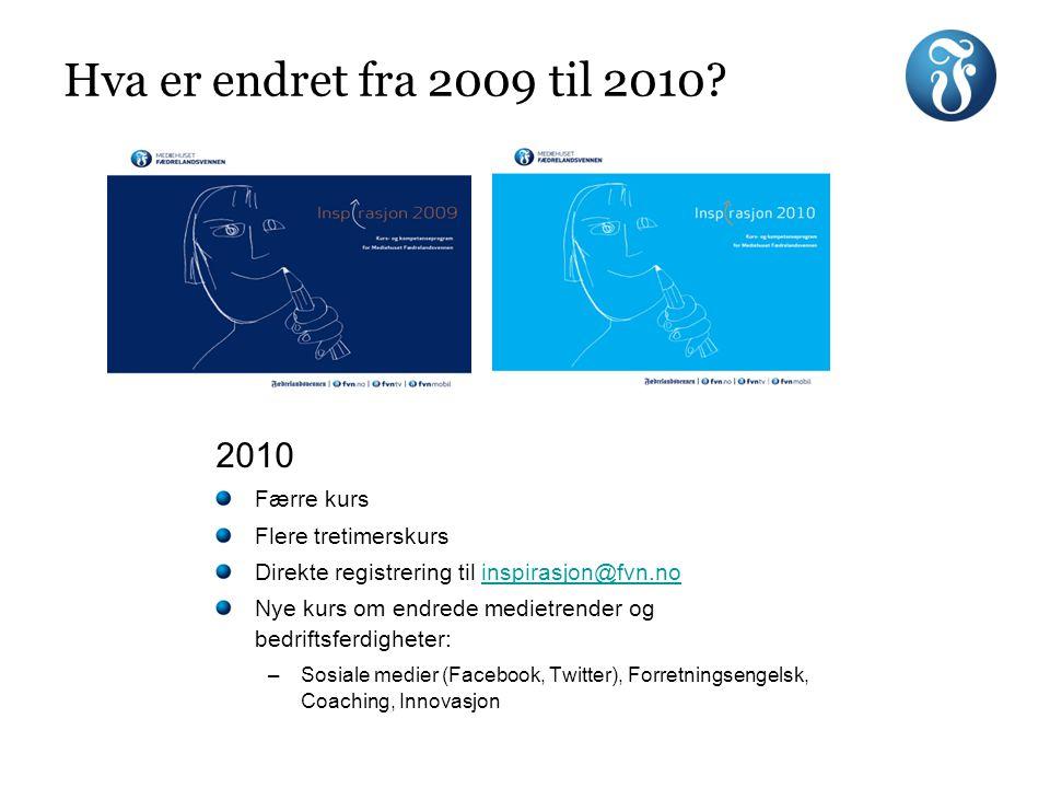 Hva er endret fra 2009 til 2010? 2010 Færre kurs Flere tretimerskurs Direkte registrering til inspirasjon@fvn.noinspirasjon@fvn.no Nye kurs om endrede
