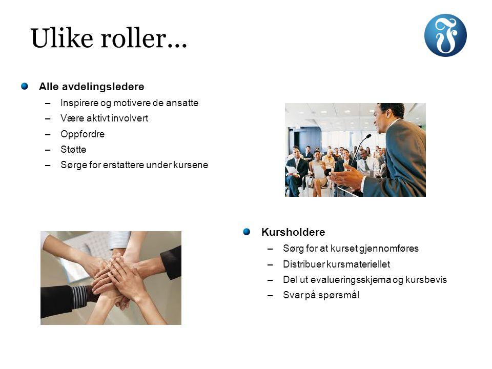 Ulike roller... Kursholdere –Sørg for at kurset gjennomføres –Distribuer kursmateriellet –Del ut evalueringsskjema og kursbevis –Svar på spørsmål Alle
