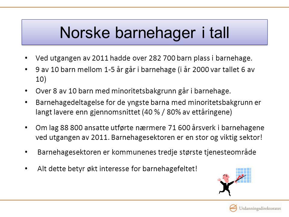 Norske barnehager i tall • Ved utgangen av 2011 hadde over 282 700 barn plass i barnehage. • 9 av 10 barn mellom 1-5 år går i barnehage (i år 2000 var