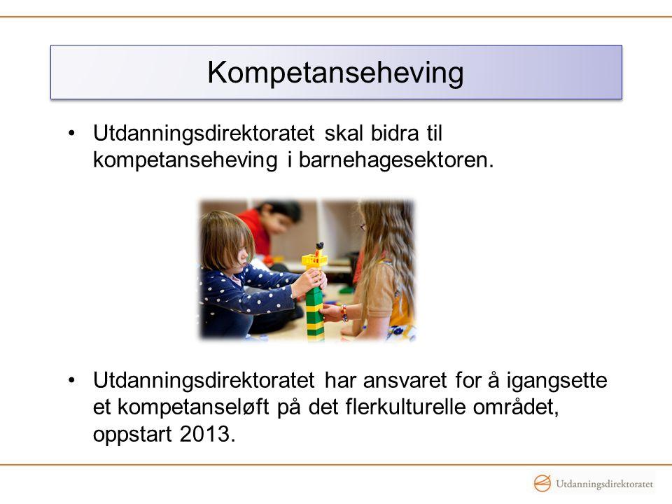 •Utdanningsdirektoratet skal bidra til kompetanseheving i barnehagesektoren. •Utdanningsdirektoratet har ansvaret for å igangsette et kompetanseløft p
