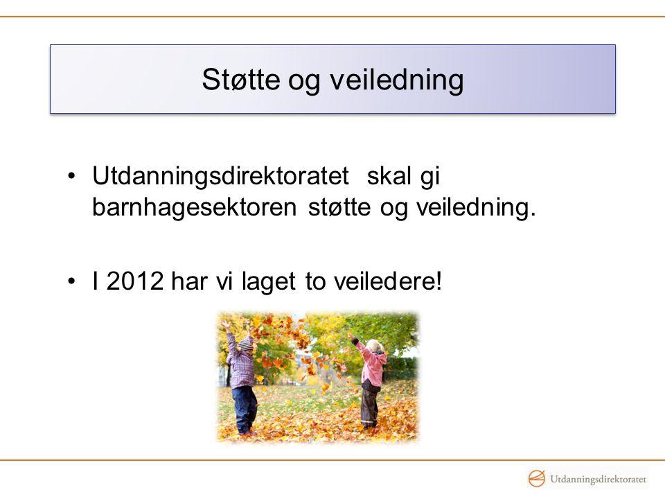 •Utdanningsdirektoratet skal gi barnhagesektoren støtte og veiledning. •I 2012 har vi laget to veiledere! Støtte og veiledning