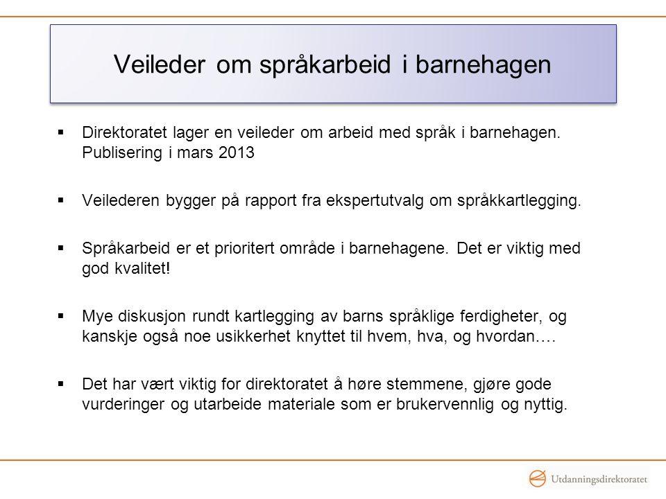Veileder om språkarbeid i barnehagen  Direktoratet lager en veileder om arbeid med språk i barnehagen. Publisering i mars 2013  Veilederen bygger på