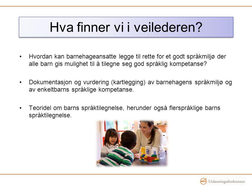 Hva finner vi i veilederen? •Hvordan kan barnehageansatte legge til rette for et godt språkmiljø der alle barn gis mulighet til å tilegne seg god språ