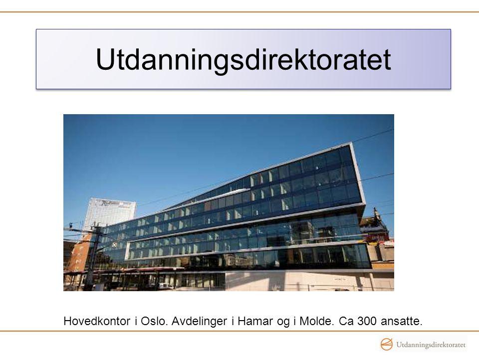 Utdanningsdirektoratet Hovedkontor i Oslo. Avdelinger i Hamar og i Molde. Ca 300 ansatte.