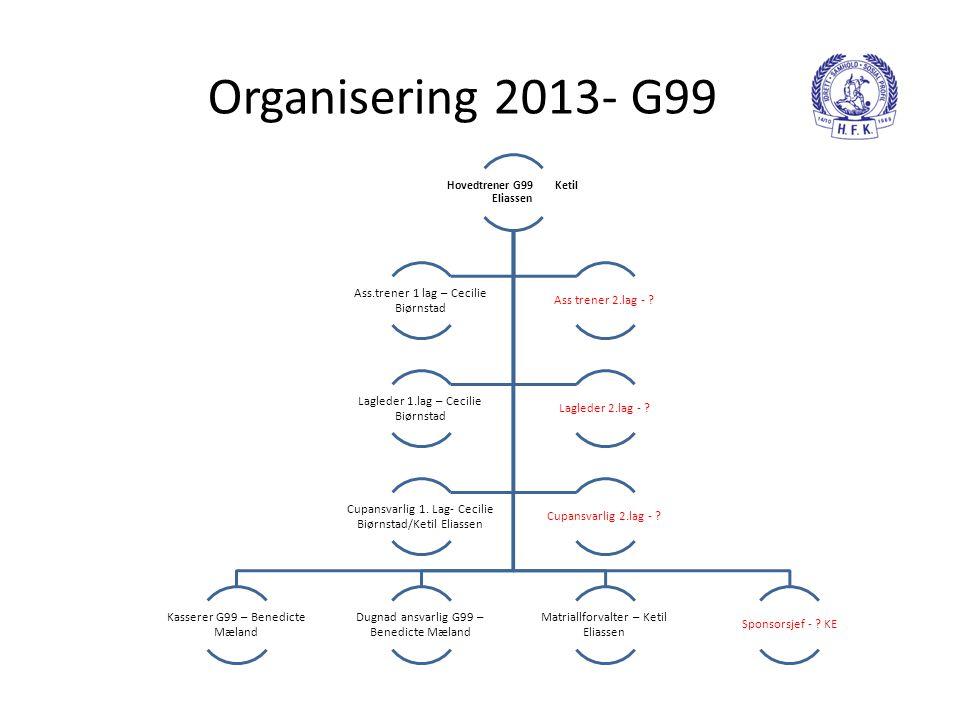 Organisering 2013- G99 Hovedtrener G99 Ketil Eliassen Kasserer G99 – Benedicte Mæland Dugnad ansvarlig G99 – Benedicte Mæland Matriallforvalter – Keti